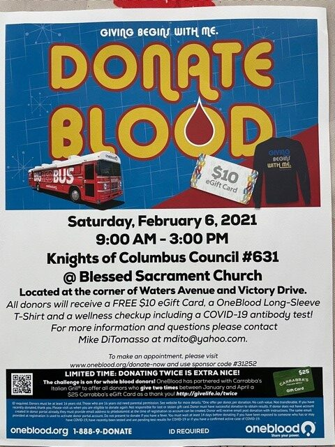Save a life!  GIVE BLOOD!  Tomorrow in the parking lot at Blessed Sacrament School - Savannah, GA.  Come on out and help us save lives! All donors receive a FREE $10 giftcard, a long-sleeve OneBlood shirt, and a wellness check-up including a Covid-19 antibody test.