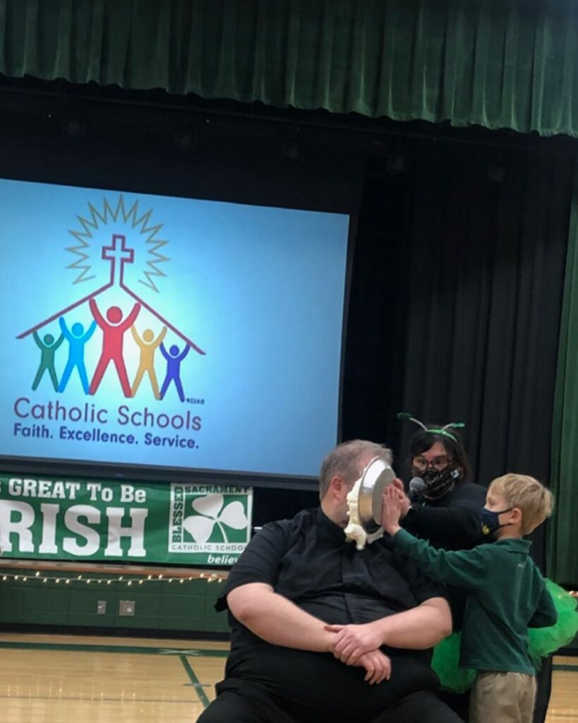 WOW!  What an action packed week at Blessed Sacrament School!  Catholic Schools Week 2021 is done and who got in on the FUN?   Father David did!  BSS children voted for Fr. David to get the pie in the eye!