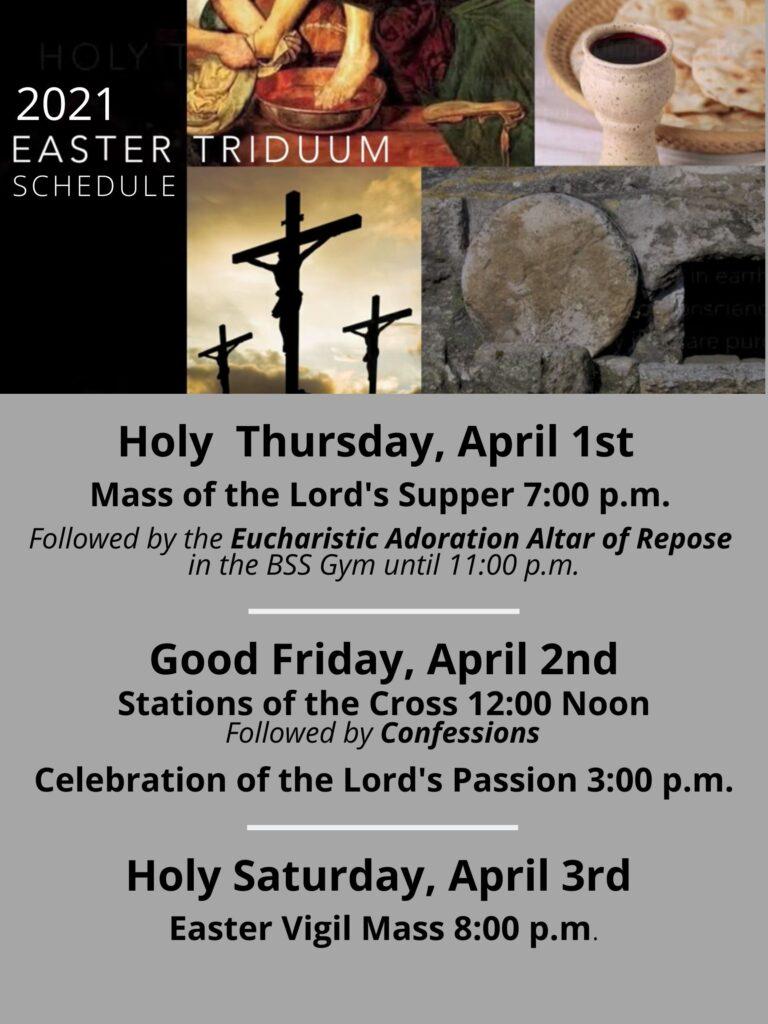 2021 Easter Triduum schedule